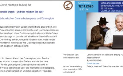 12.11.2020 18.30 Uhr Hermann Sauer & John Tracker bei der Landeszentrale für politische Bildung RLP in Mainz (präsenz)